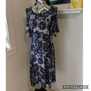 Dress Barn Cold Shoulder Fit and Flare Dress 18W